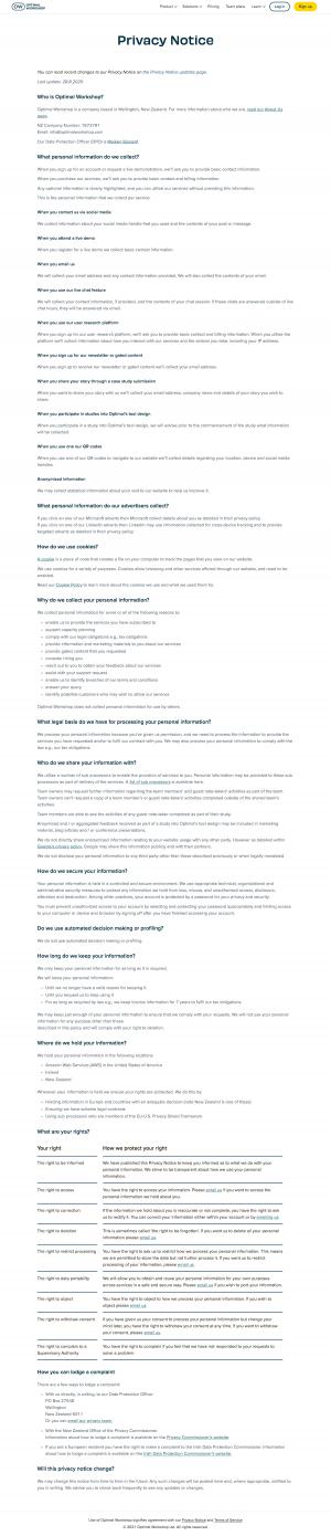 Optimal Workshop – Legal page