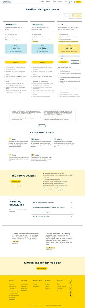 Optimal Workshop – Pricing page
