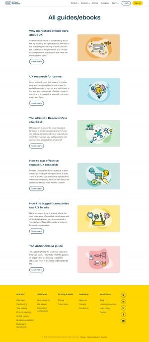 Optimal Workshop – Resources page