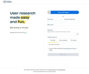 Optimal Workshop – Signup page
