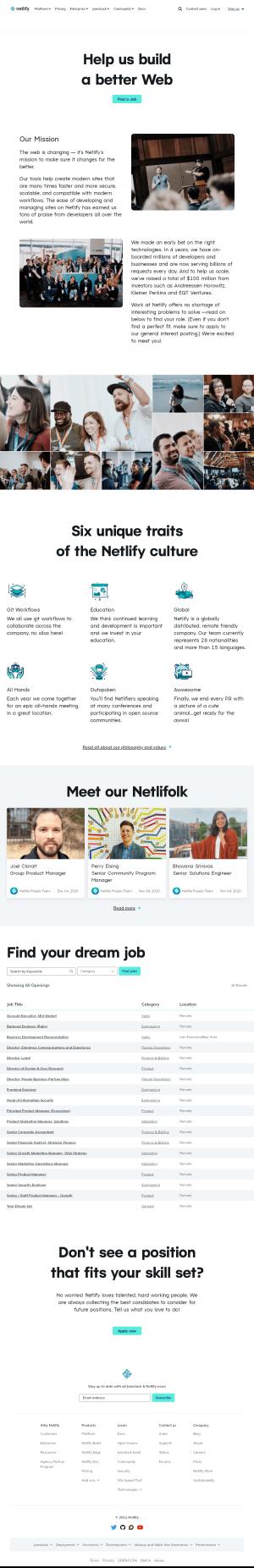Netlify – Careers page