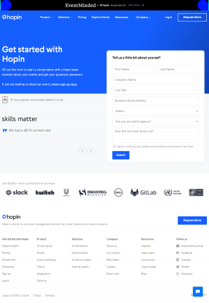 Hopin – Contact page