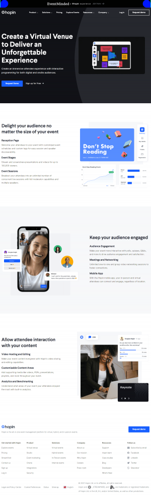 Hopin – Features page