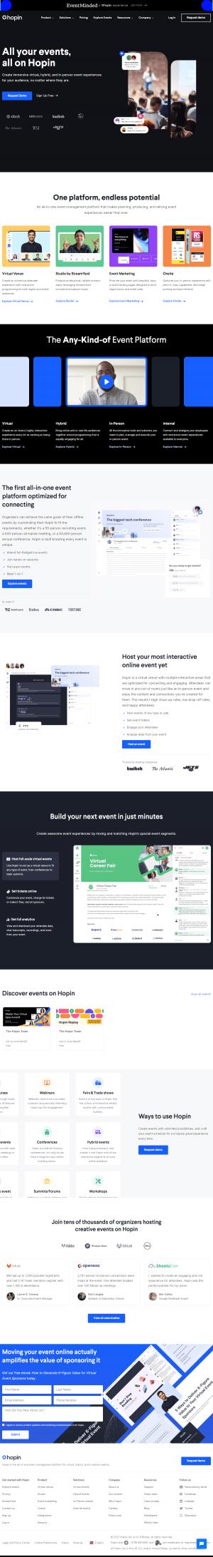 Hopin – Homepage