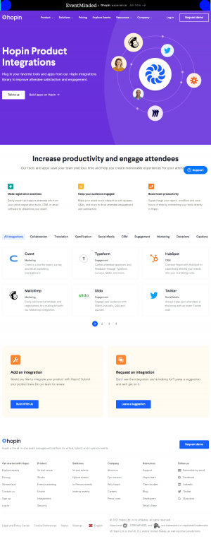 Hopin – Integrations page