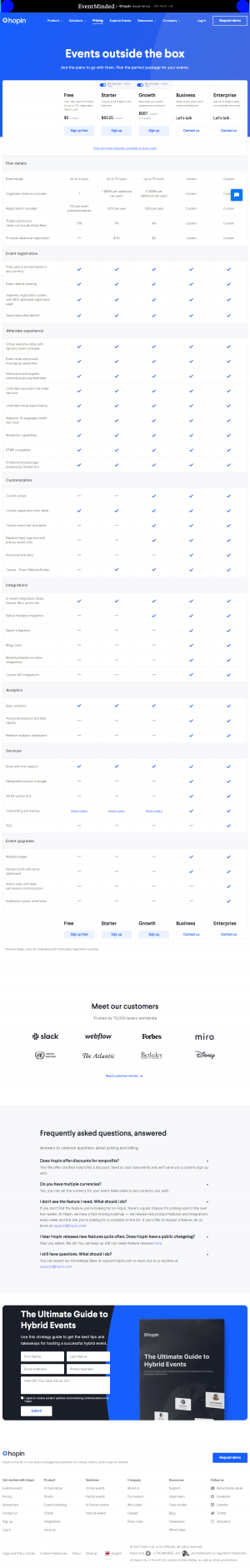 Hopin – Pricing page