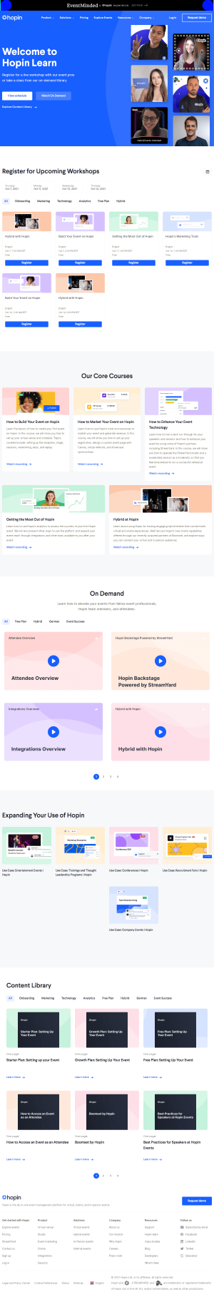 Hopin – Resources page