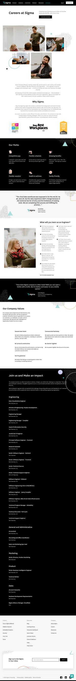 Sigma – Careers page