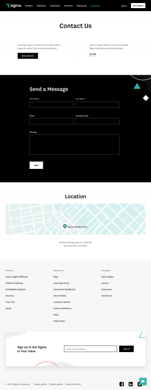 Sigma – Contact page