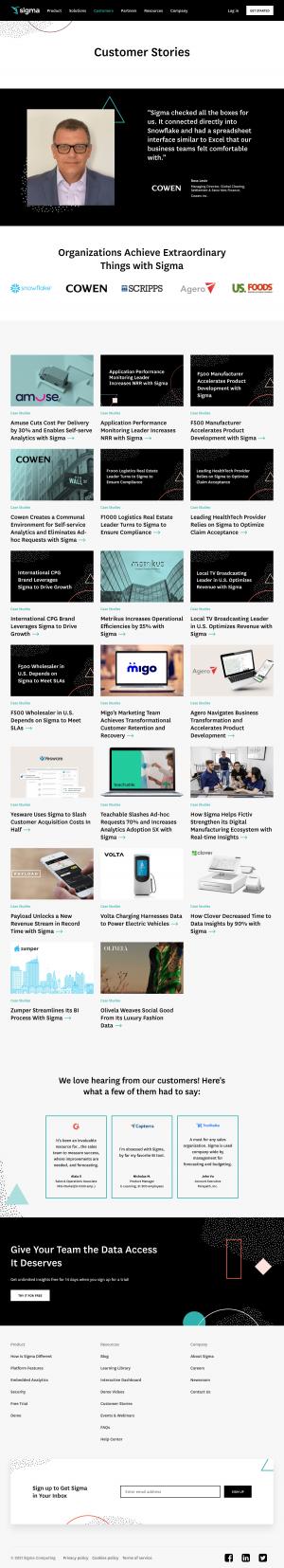 Sigma – Customers page