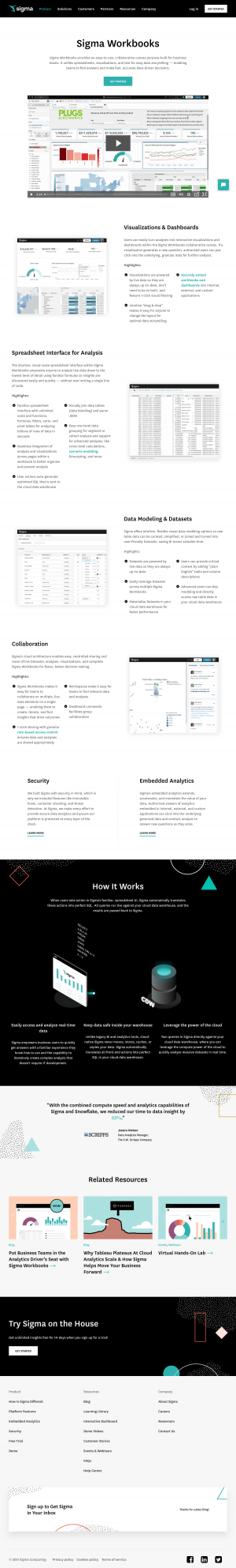 Sigma – Features page