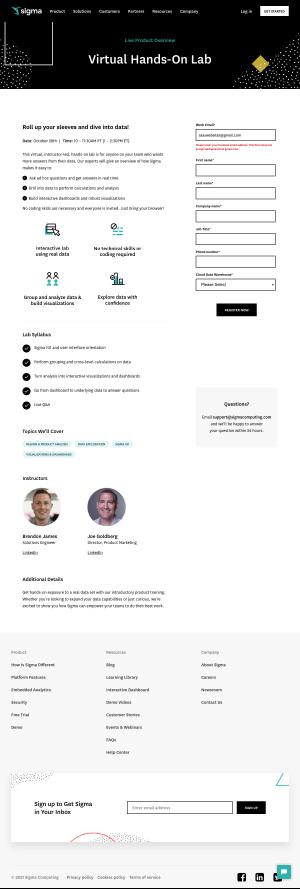 Sigma – Landing page