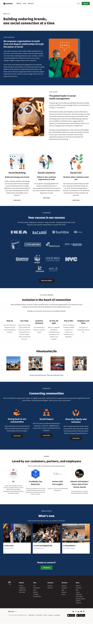 Hootsuite – About Us page